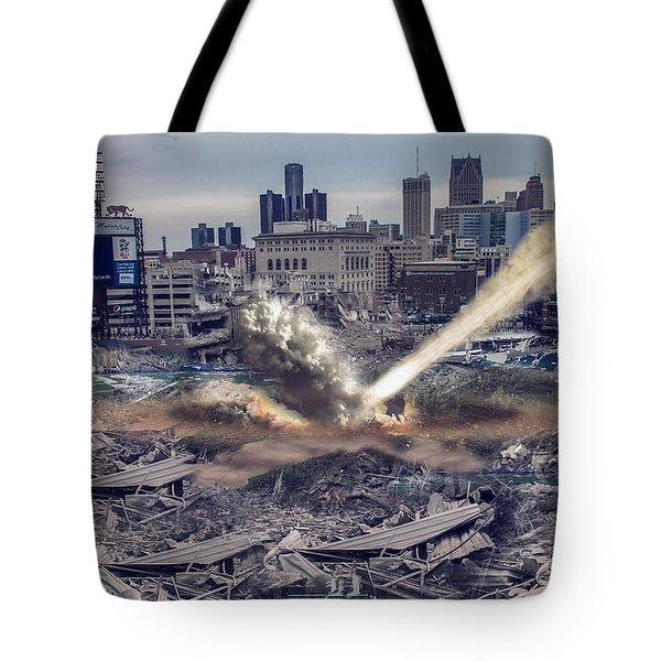 Tote Bag featuring the photograph Comerica Park Asteroid by Nicholas  Grunas