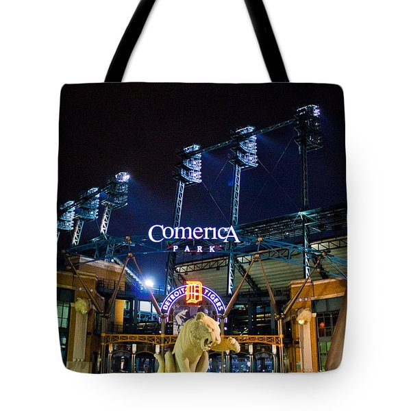 Comerica Park At Night  Tote Bag by John McGraw