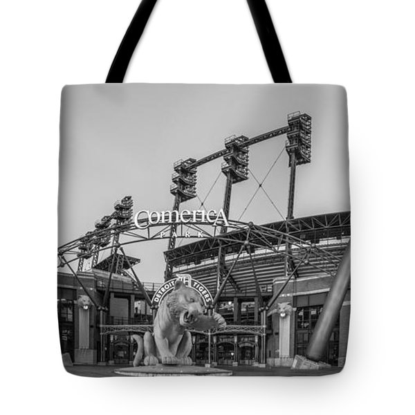 Comerica Park Black And White Tote Bag