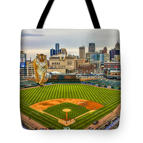 Tote Bag featuring the photograph Comerica Park Detroit Mi With The Tigers by Nicholas  Grunas