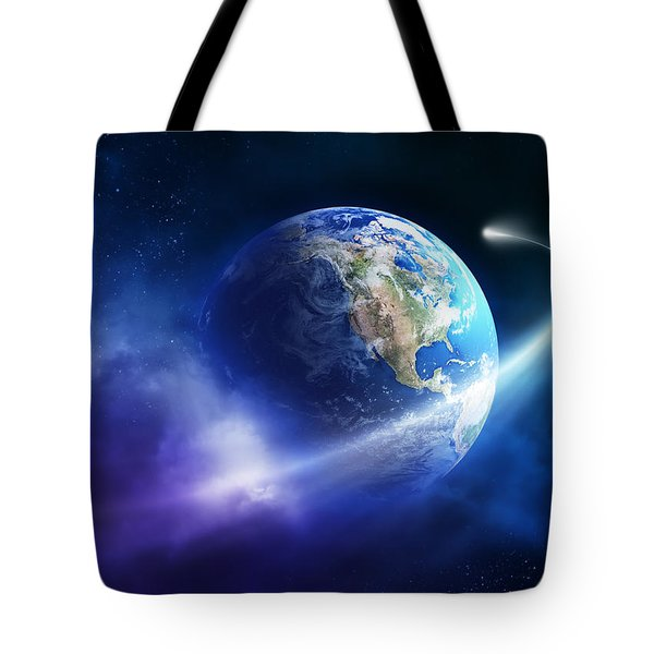 Comet Moving Passing Planet Earth Tote Bag by Johan Swanepoel