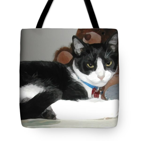 Comfy Kitty Tote Bag by Jeanne A Martin