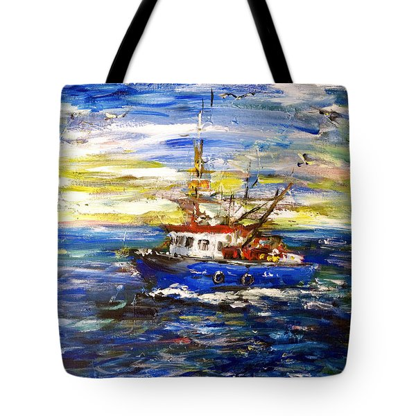 Tote Bag featuring the painting Coming Back by Arturas Slapsys