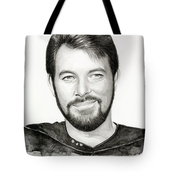 Commander William Riker Star Trek Tote Bag by Olga Shvartsur