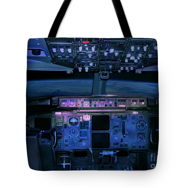 Commercial Airplane Cockpit By Night Tote Bag