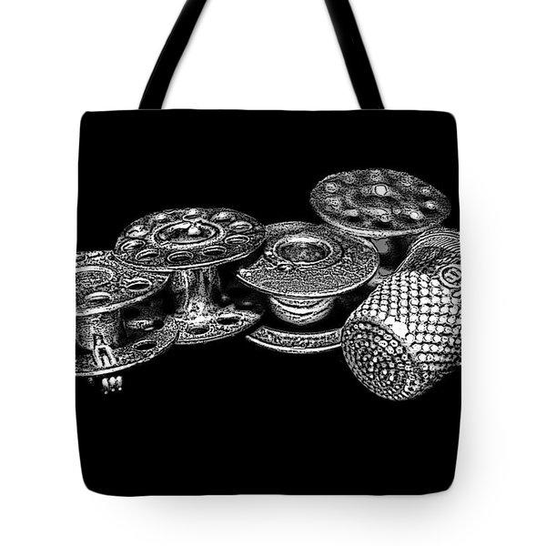 Commercial Vintage Bobbins On Black Tote Bag