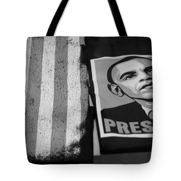 Commercialization Of The President Of The United States In Balck And White Tote Bag by Rob Hans
