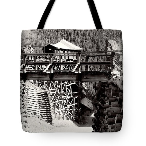 Tote Bag featuring the photograph Commodore Ore Bins by Lana Trussell