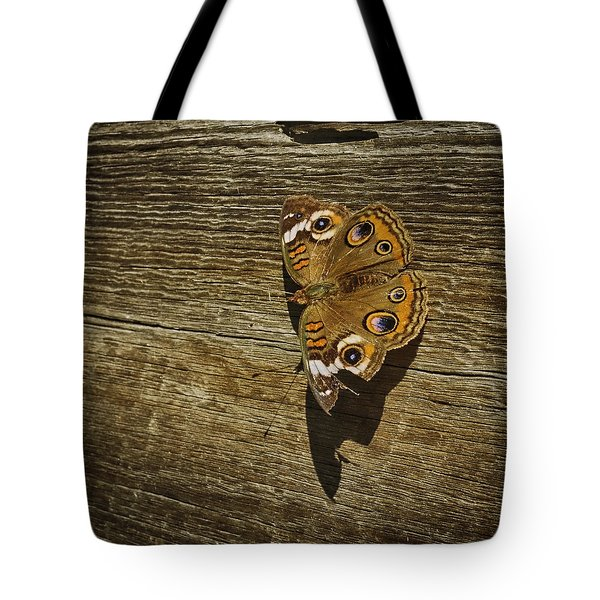 Common Buckeye With Torn Wing Tote Bag by Lynn Palmer