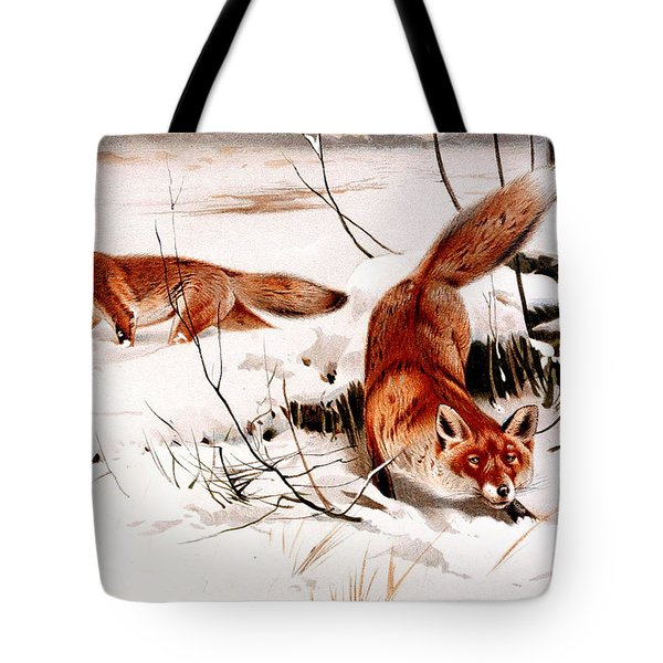 Common Fox In The Snow Tote Bag by Friedrich Wilhelm Kuhnert
