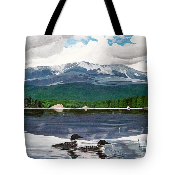 Common Loon On Togue Pond By Mount Katahdin Tote Bag
