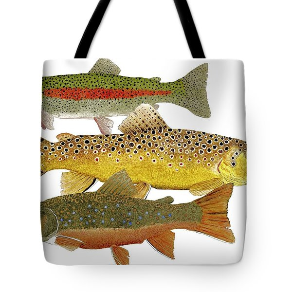 Common Trout  Rainbow Brown And Brook Tote Bag