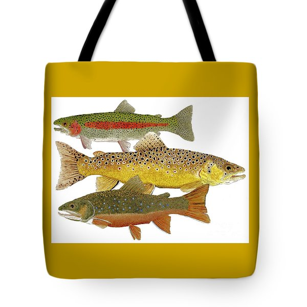 Tote Bag featuring the painting Common Trout  Rainbow Brown And Brook by Thom Glace