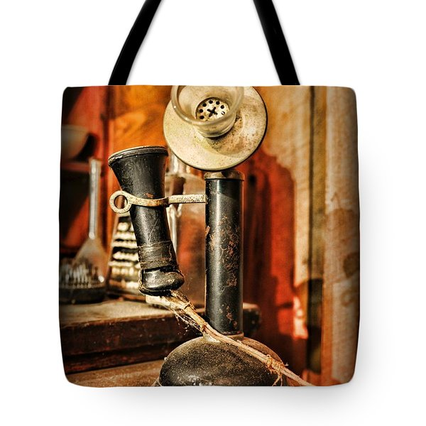 Communication - Candlestick Phone Tote Bag by Paul Ward