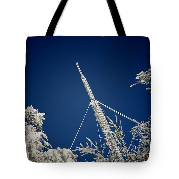Communication Pole Covered With Snow In A Sunny Winter Day Tote Bag