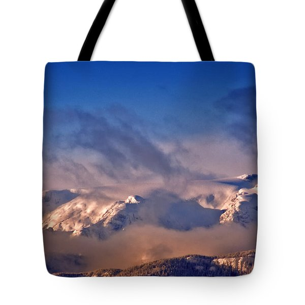 Comox Glacier And Morning Mist Tote Bag