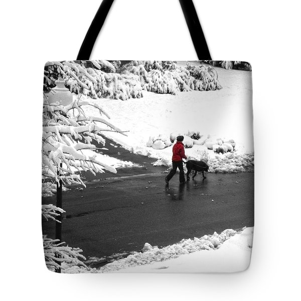 Companions Walking On Christmas Morning Tote Bag