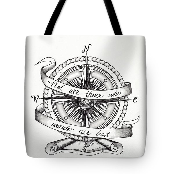 Compass Drawing Tote Bag