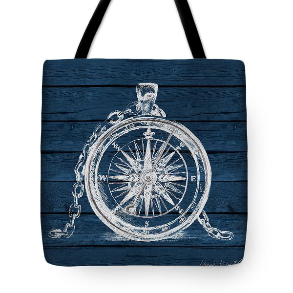 Compass On Blue Wood Tote Bag
