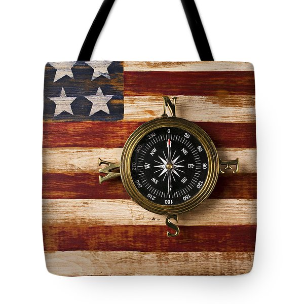 Compass On Wooden Folk Art Flag Tote Bag