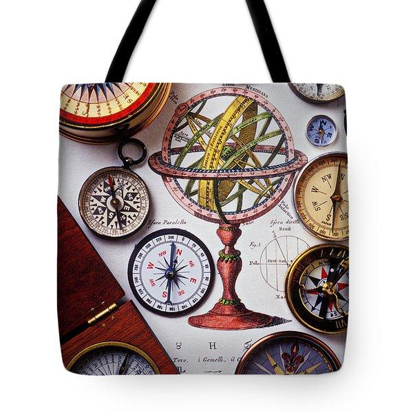 Compasses And Globe Illustration Tote Bag