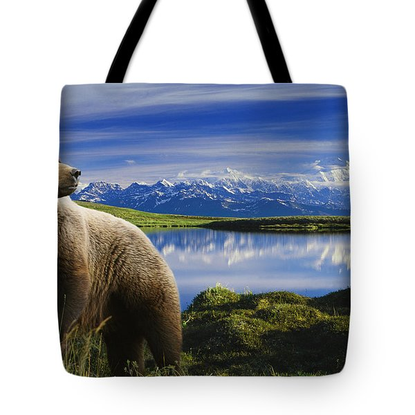 Composite Grizzly Stands In Front Of Tote Bag