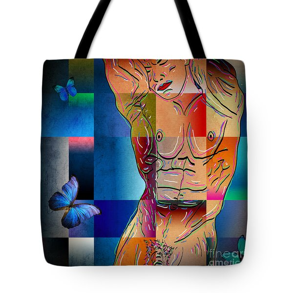 Composition In Blue Tote Bag by Mark Ashkenazi