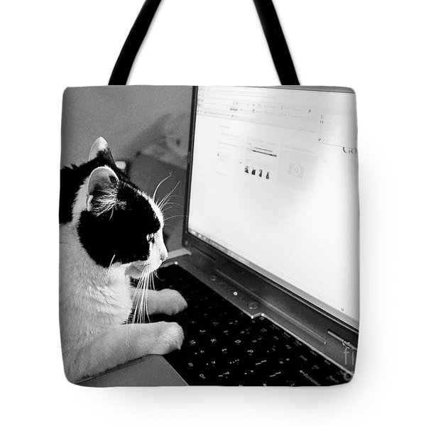 Computer Cat Tote Bag
