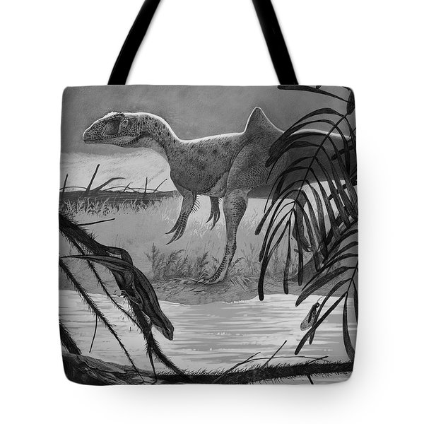 Concavenator Corcovatus Searching Tote Bag by Roman Garcia Mora