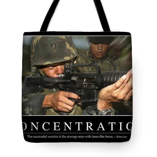 Concentration Inspirational Quote Tote Bag by Stocktrek Images