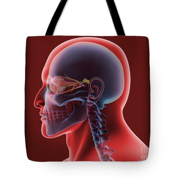 Conceptual Image Of Human Eye And Skull Tote Bag