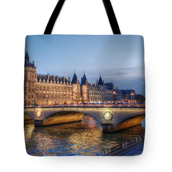 Conciergerie And Pont Napoleon At Twilight Tote Bag by Jennifer Ancker