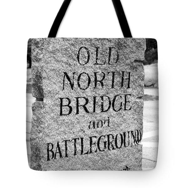 Concord Ma Old North Bridge Marker Black And White Tote Bag