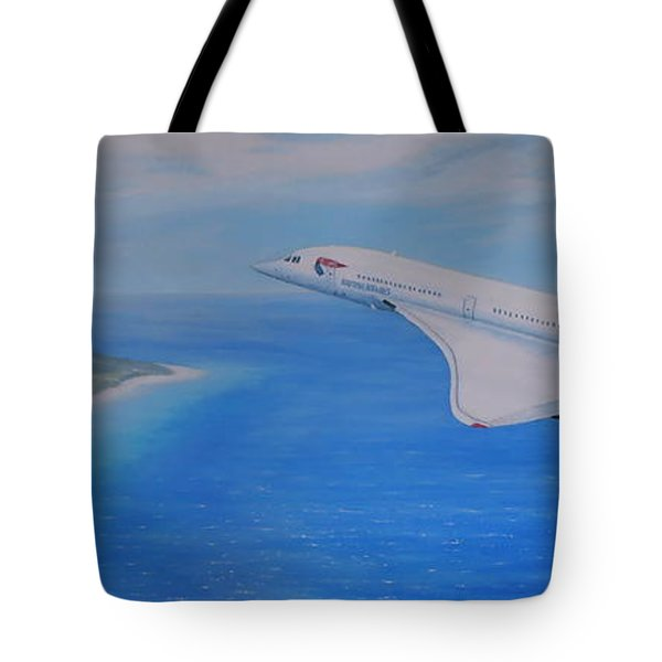Concorde Over Barbados Tote Bag by Elaine Jones