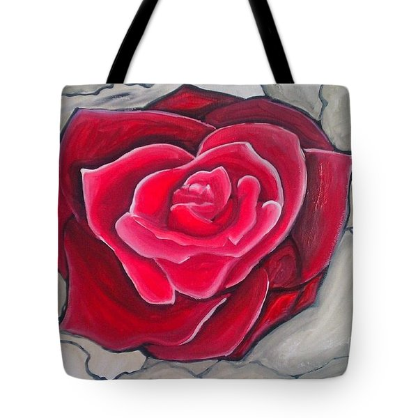 Concrete Rose Tote Bag by Marisela Mungia