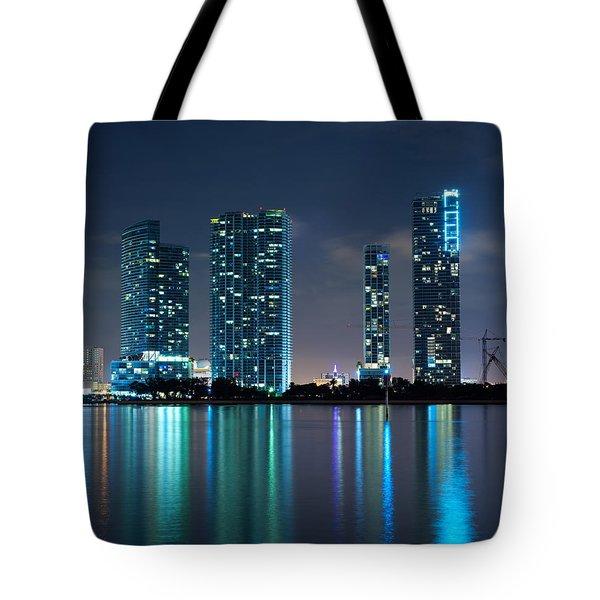 Condominium Buildings In Miami Tote Bag by Carsten Reisinger