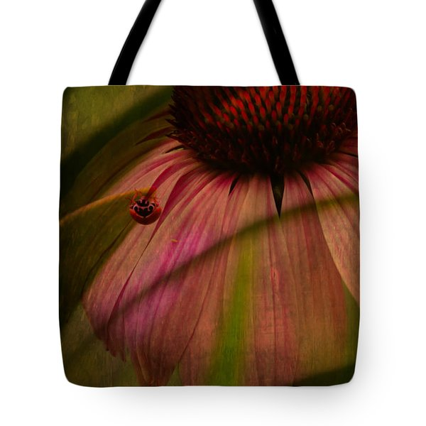 Cone Flower And The Ladybug Tote Bag by Lesa Fine