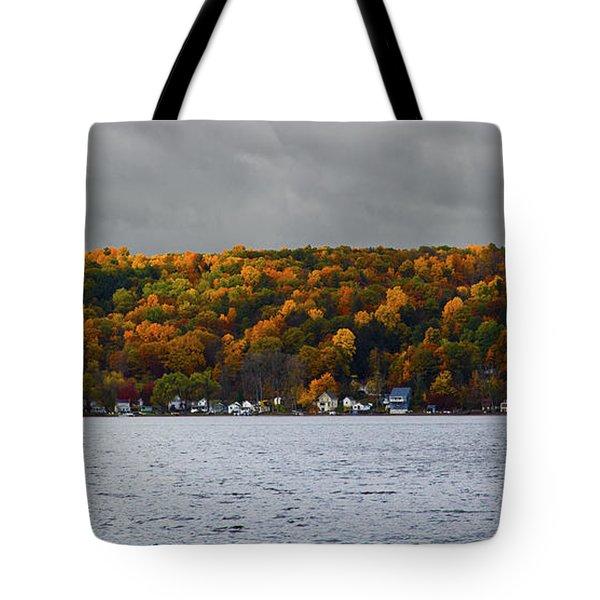 Conesus Lake Autumn Tote Bag by Richard Engelbrecht