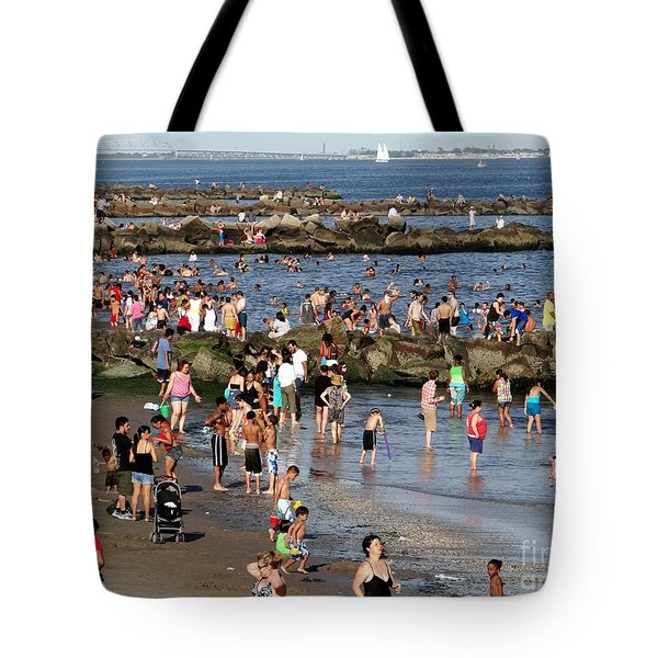 Tote Bag featuring the photograph Coney Island Rocks by Ed Weidman