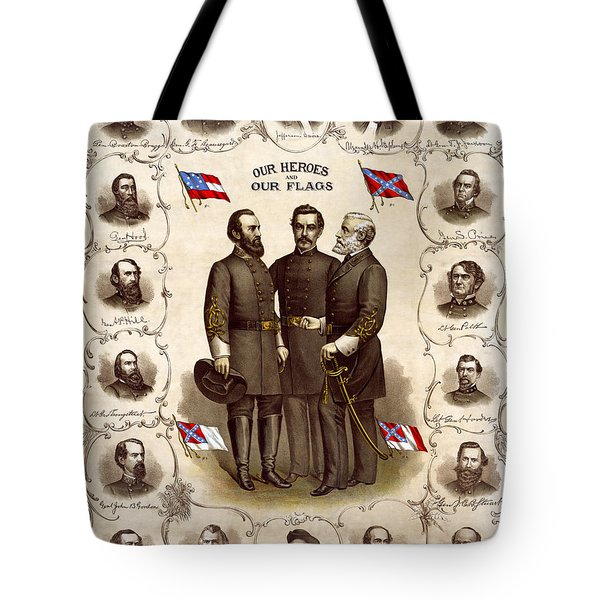 Confederate Generals And Flags Tote Bag