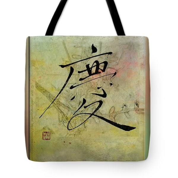 Tote Bag featuring the mixed media Congratulations - Oriental Brush Calligraphy by Peter v Quenter