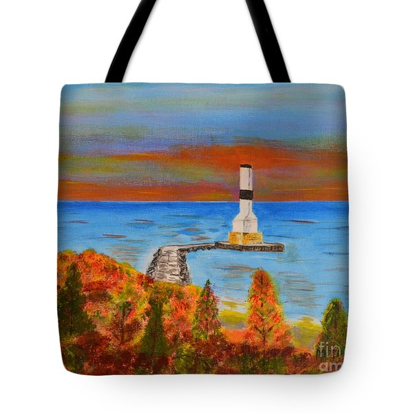 Tote Bag featuring the painting Fall, Conneaut Ohio Light House by Melvin Turner