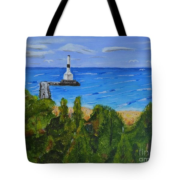 Tote Bag featuring the painting Summer, Conneaut Ohio Lighthouse by Melvin Turner