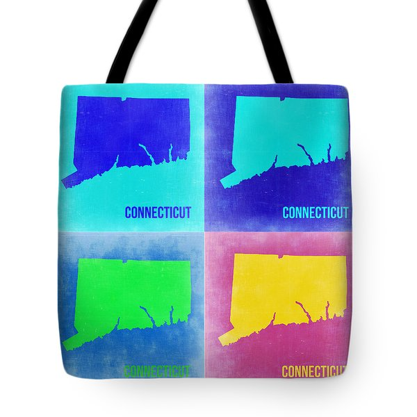 Connecticut Pop Art Map 2 Tote Bag by Naxart Studio