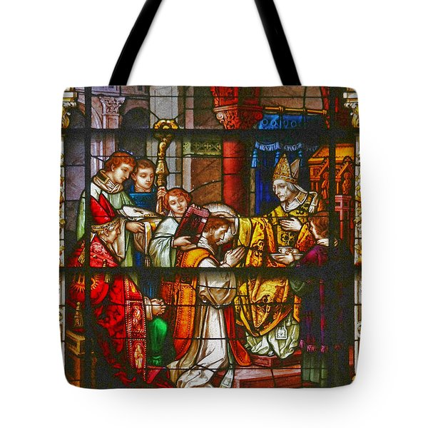 Consecration Of St Augustine Stained Glass Window Tote Bag by Christine Till