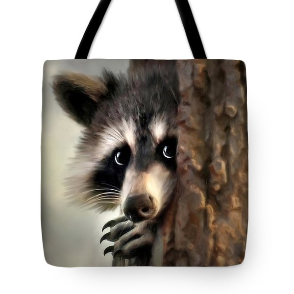 Tote Bag featuring the mixed media Conspicuous Bandit by Christina Rollo