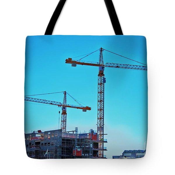 construction cranes HDR Tote Bag by Antony McAulay