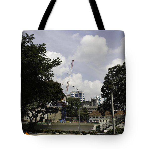Construction Work Ongoing In Singapore Tote Bag by Ashish Agarwal