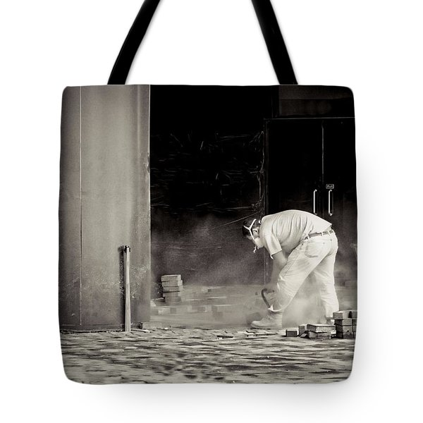 Construction Worker Bw Tote Bag by Rudy Umans