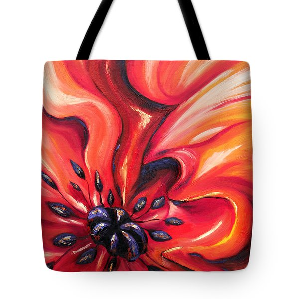 Tote Bag featuring the painting Consuming Fire by Meaghan Troup